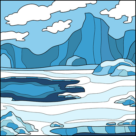 Vector illustration, winter background (Antarctica)