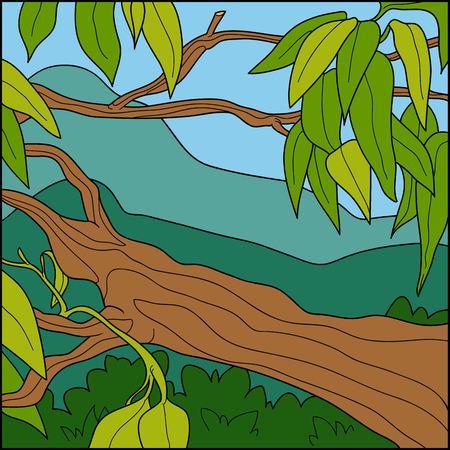 tropical tree: Ilustraci�n del vector, fondo natural (�rbol tropical)