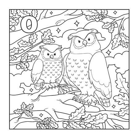 Coloring book (owl), colorless illustration (letter O) Vector