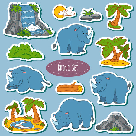 rhino vector: Set of various cute rhino, vector stickers of animals and items of nature