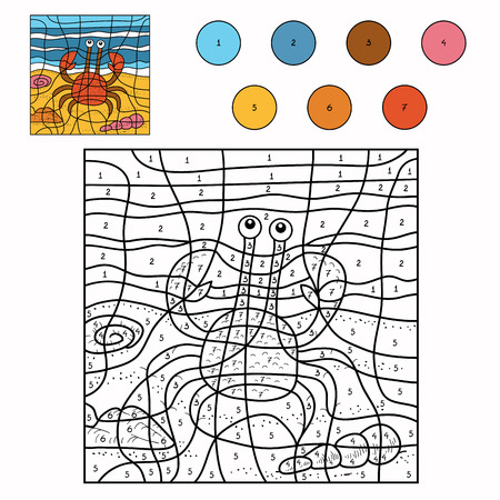 Spel voor kinderen: Kleur door aantal (krab) Stock Illustratie