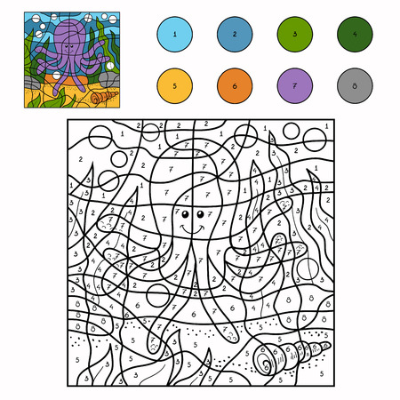 number of animals: Game for children: Color by number (octopus) Illustration