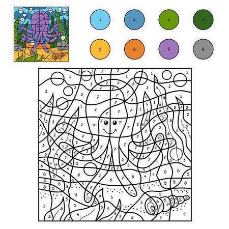 Spel voor kinderen: Kleur van het aantal (octopus)