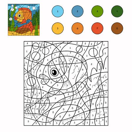 Spel voor kinderen: Kleur door aantal (vis) Stock Illustratie