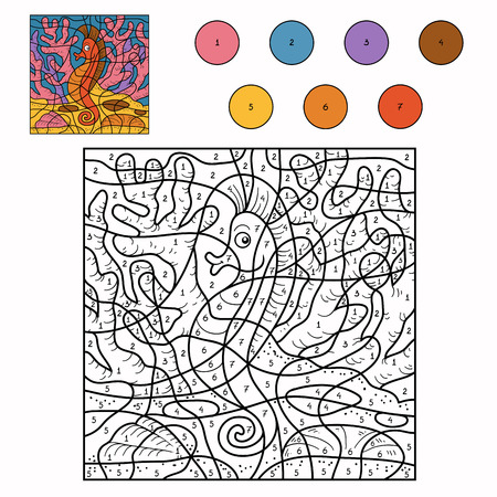 Game for children: Color by number (sea horse) Vectores