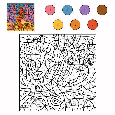 Spel voor kinderen: Kleur van het aantal (zeepaardje) Stock Illustratie