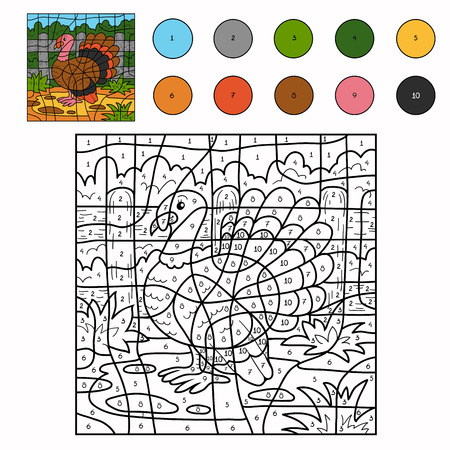 Game for children: Color by number (turkey) Vectores