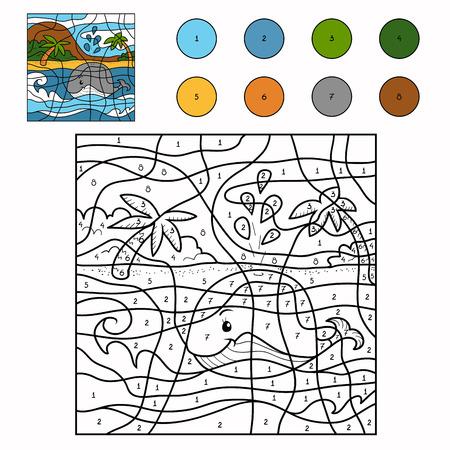 Spel voor kinderen: Kleur van het aantal (walvis)