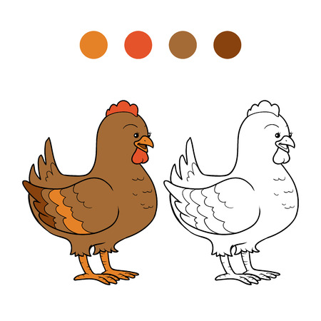 for children: Game for children: Coloring book (chicken)