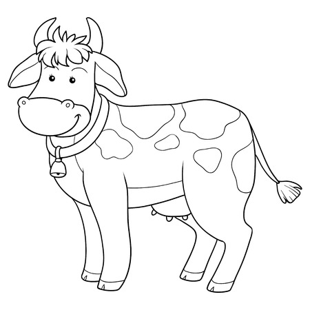Game for children: Coloring book (cow) Vector