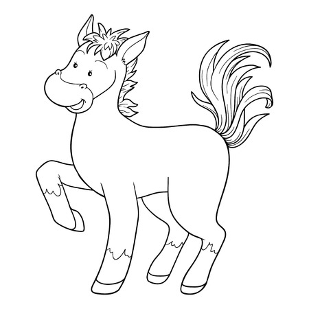 pony tail: Game for children: Coloring book (horse) Illustration