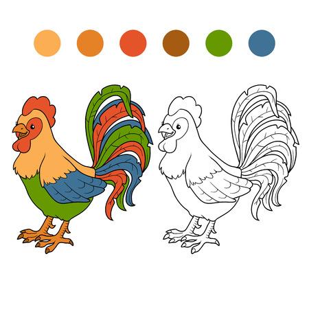 gallo: Juego para los niños: Libro de colorante (gallo) Vectores