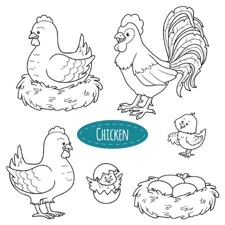 Set di simpatici animali da fattoria e gli oggetti, pollo famiglia vettore