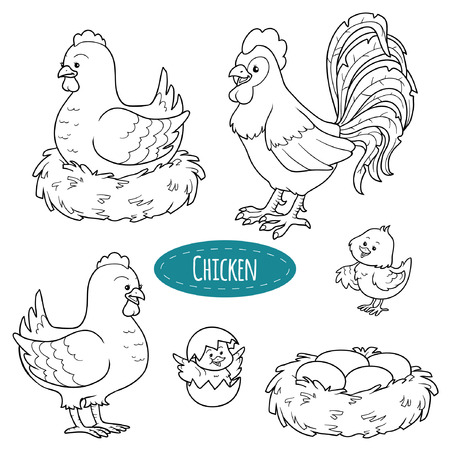happy farmer: Set of cute farm animals and objects, vector family chicken