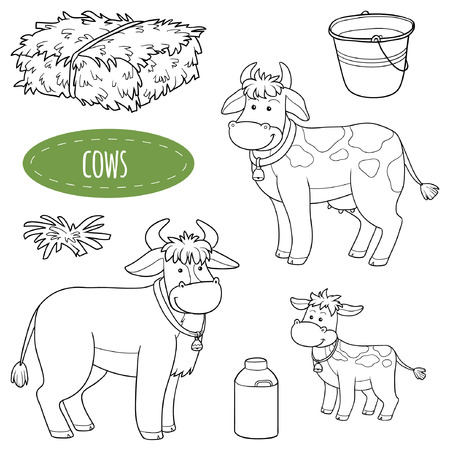 color pages: Set of cute farm animals and objects, vector family cows
