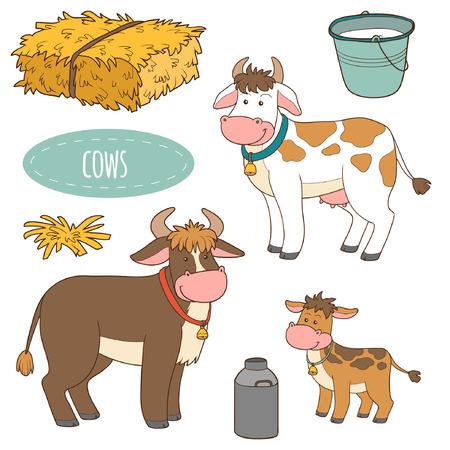 vaca caricatura: Conjunto de animales y objetos de granja lindo, vacas de la familia de vectores Vectores