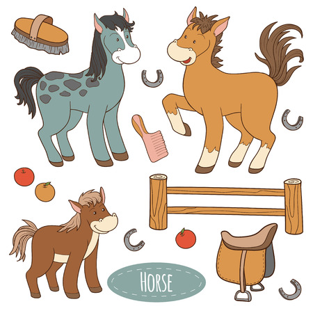 brown horse: Set of cute farm animals and objects, vector family horse