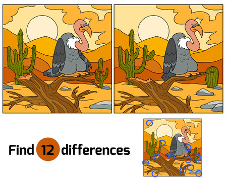zoo dry: Game for children: Find differences (vulture and background) Illustration