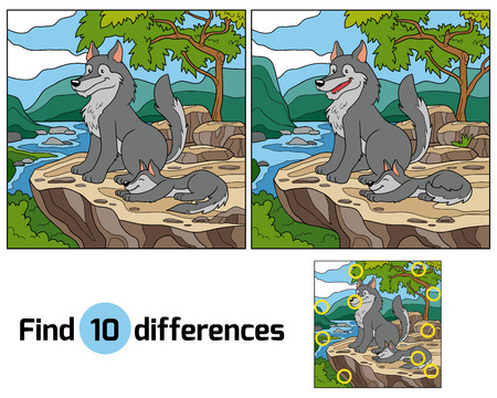 dog rock: Game for children: Find differences (wolf and background) Illustration
