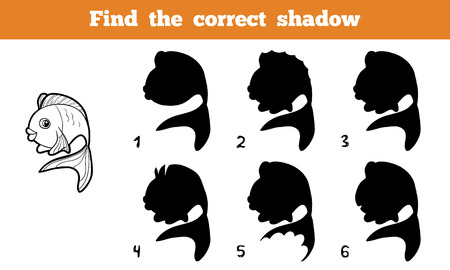 Game for children: Find the correct shadow (fish) Vectores