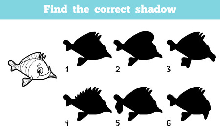 game fish: Game for children: Find the correct shadow (fish) Illustration