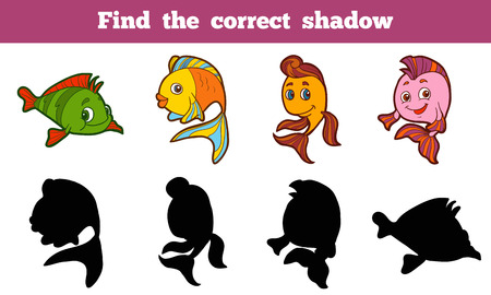 find answers: Game for children: Find the correct shadow (fish) Illustration