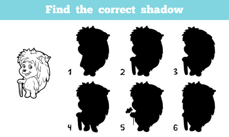 correct: Game for children: Find the correct shadow (hedgehog)