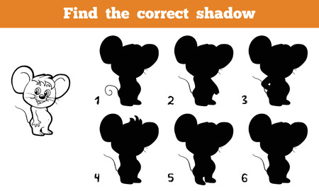 cute mouse: Game for children: Find the correct shadow (mouse)