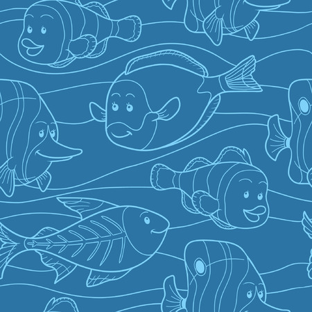 underworld: Blue vector pattern with fish