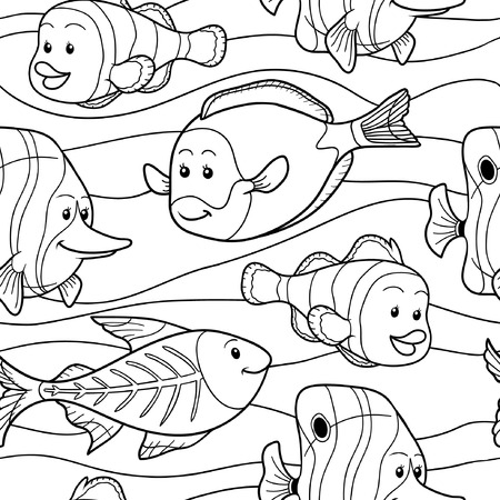 colorless: Colorless vector pattern with fish