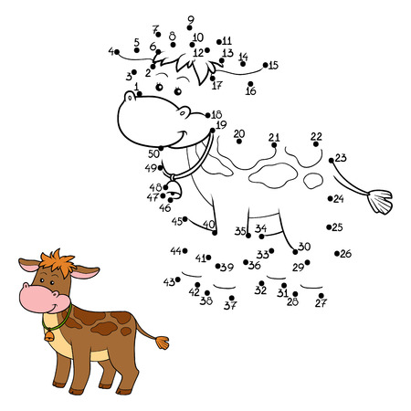 farm cartoon: Game for children: Numbers game (calf) Illustration
