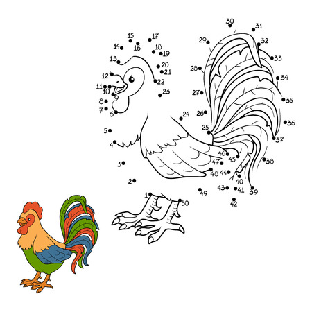 number of animals: Game for children: Numbers game (rooster) Illustration
