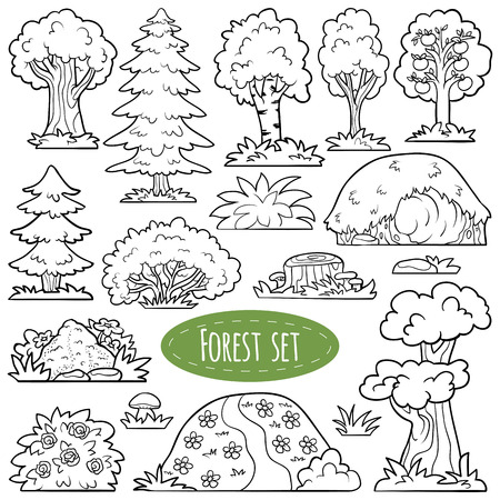 lair: Colorless vector set of forest items