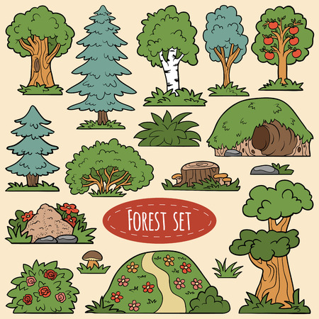 lair: Color vector set of forest items