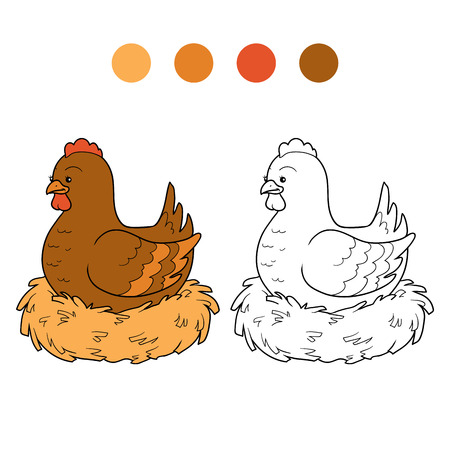 gallina con huevos: Juego para los niños: libro para colorear (pollo y nido)