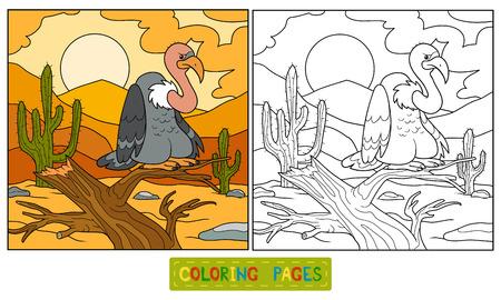 griffon: Game for children: Coloring book (vulture) Illustration