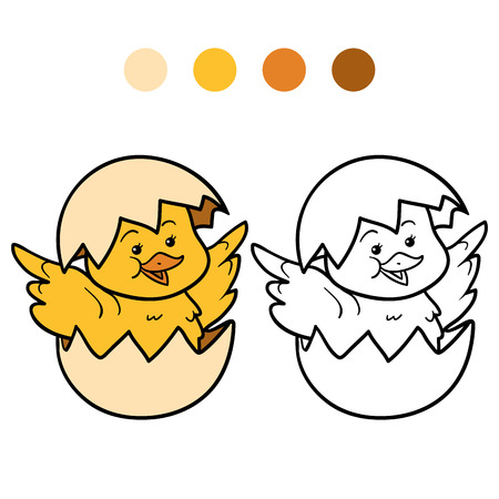 Game for children: Coloring book (chick and egg) Vectores