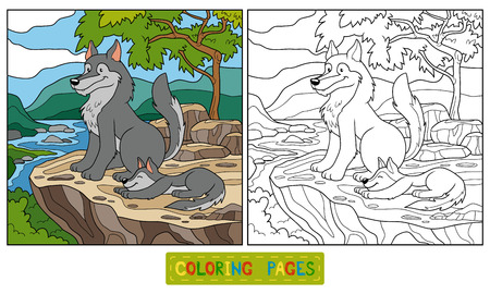 black and white wolf: Game for children: Coloring book (wolf)