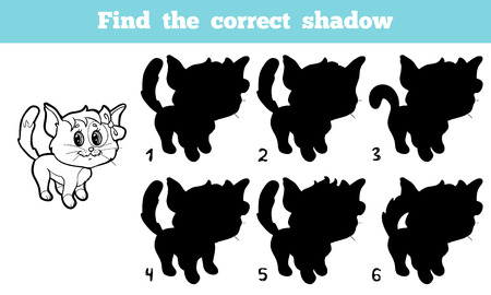 shadow match: Game for children: Find the correct shadow (cat)