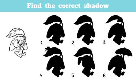 silhouette lapin: Jeu pour les enfants: Trouver la bonne ombre (lapin)