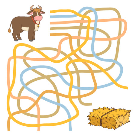 laberinto: Juego para los ni�os: Laberinto juego (toro y heno) Vectores