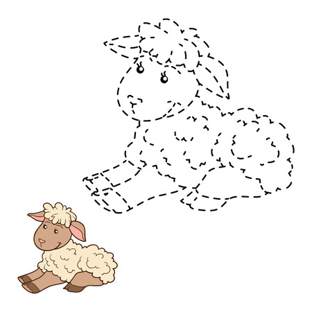 ewe: Game for children: Connect the dots (sheep) Illustration