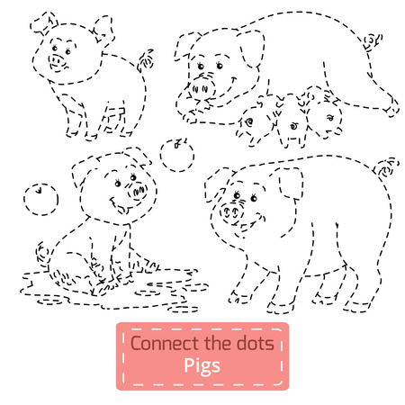 conundrum: Connect the dots (farm animals set, pig family) Illustration
