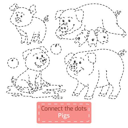 rotund: Connect the dots (farm animals set, pig family) Illustration