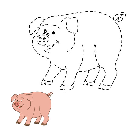 rotund: Game for children: Connect the dots (pig)