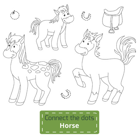 enigma: Connect the dots (farm animals set, horse family)