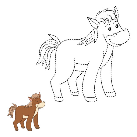 for children: Game for children: Connect the dots (horse) Illustration