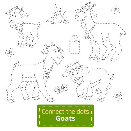 kid goat: Connect the dots (goats family, farm animals) Illustration