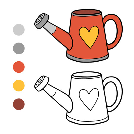 coloration: Game for children: Coloring book (watering can)