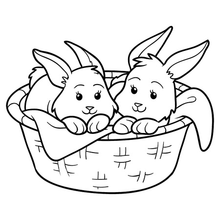 cartoon easter basket: Game for children: Coloring book (rabbits in basket) Illustration